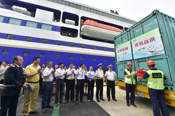青岛邮轮母港成功进口邮轮船供物资 全国首家