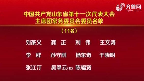 中国共产党山东省第十一次代表大会主席团常务委员会委员名单