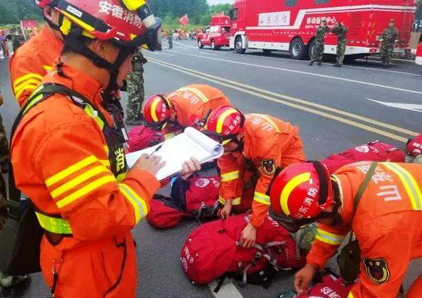 山东公安消防总队参加全国地震救援演练