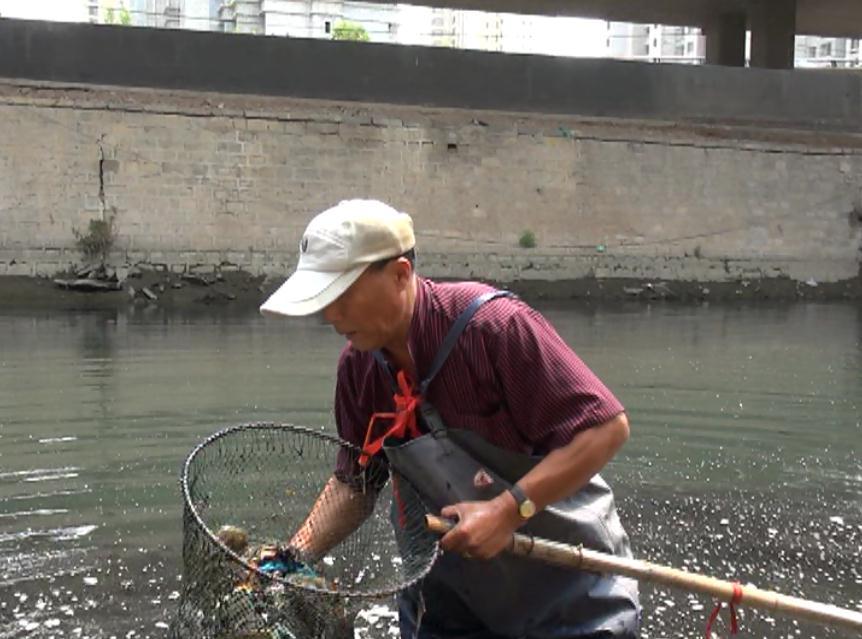 """济南""""河域清道夫"""":一天打捞数百斤垃圾 饭前洗三遍手"""