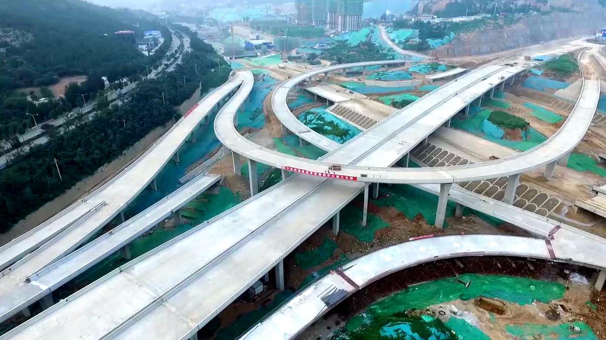 济南最大立交搬倒井互通立交主体完工 年底有望通车