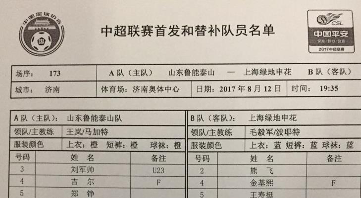 鲁能申花首发名单揭晓 刘彬彬重回首发戴琳解禁复出