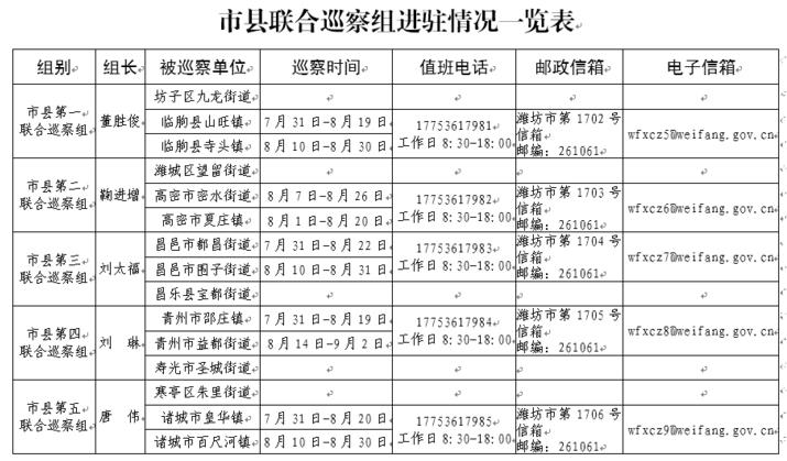 潍坊市县联合巡察组进驻寺头镇等五个镇(街道)开展巡察