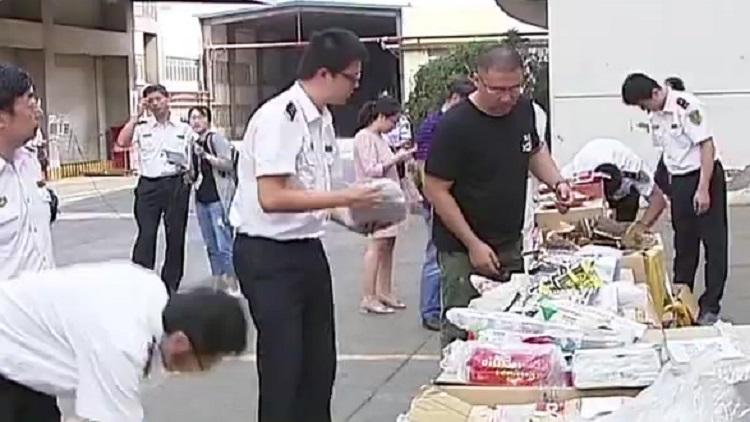 山东口岸集中销毁1.5吨非法入境物品