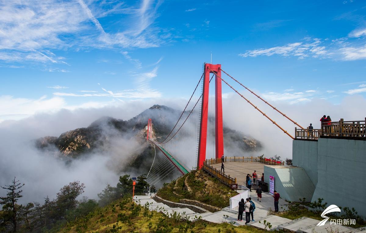 航拍临沂天蒙山 览云中世界第一人行悬索桥