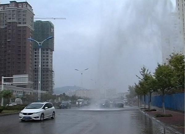48秒丨自来水管被挖断喷出10米高水柱 过路司机蹭水洗车