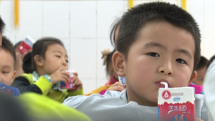 """26秒丨5万多小学生喝上免费奶 莱芜""""学生饮用奶计划""""实施"""