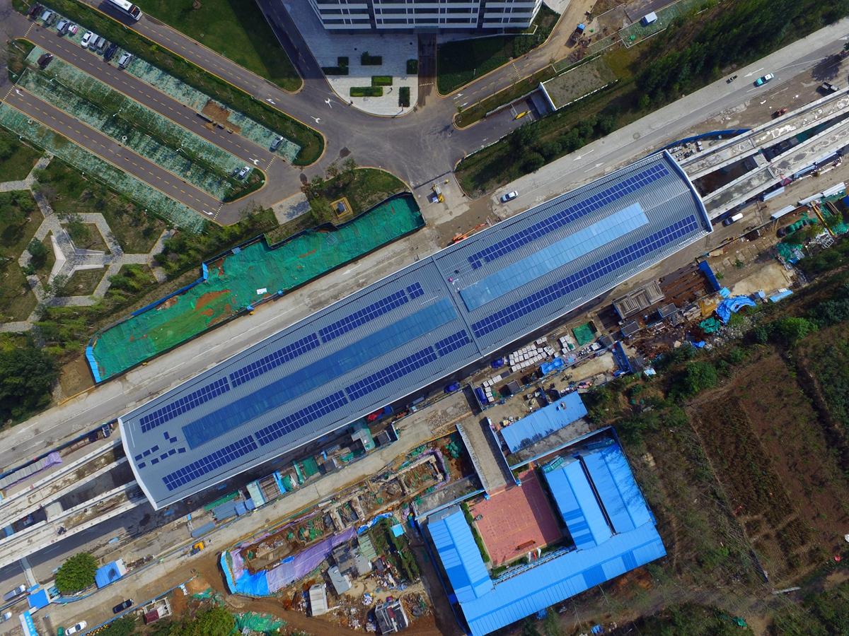 航拍|高颜值还有高科技!济南首个开工建设地铁站用上太阳能