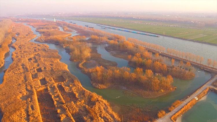 59秒丨航拍台儿庄运河湿地 落日余晖映出水天一色