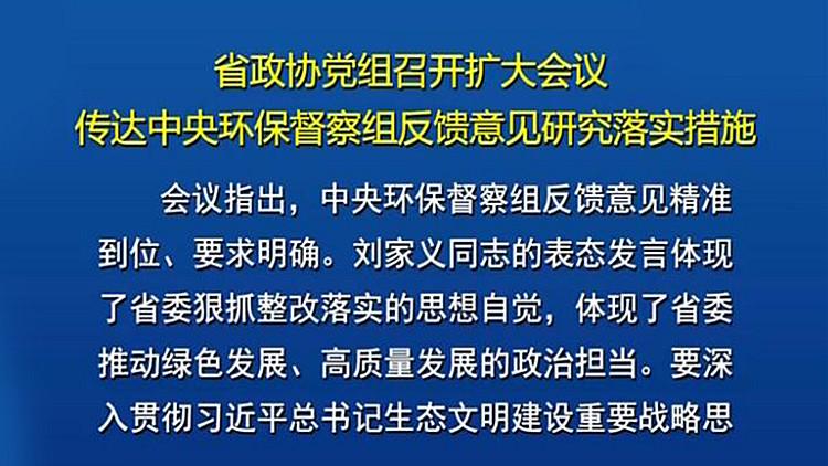 山东省政协党组召开扩大会议 传达中央环保督察组反馈意见研究落实措施