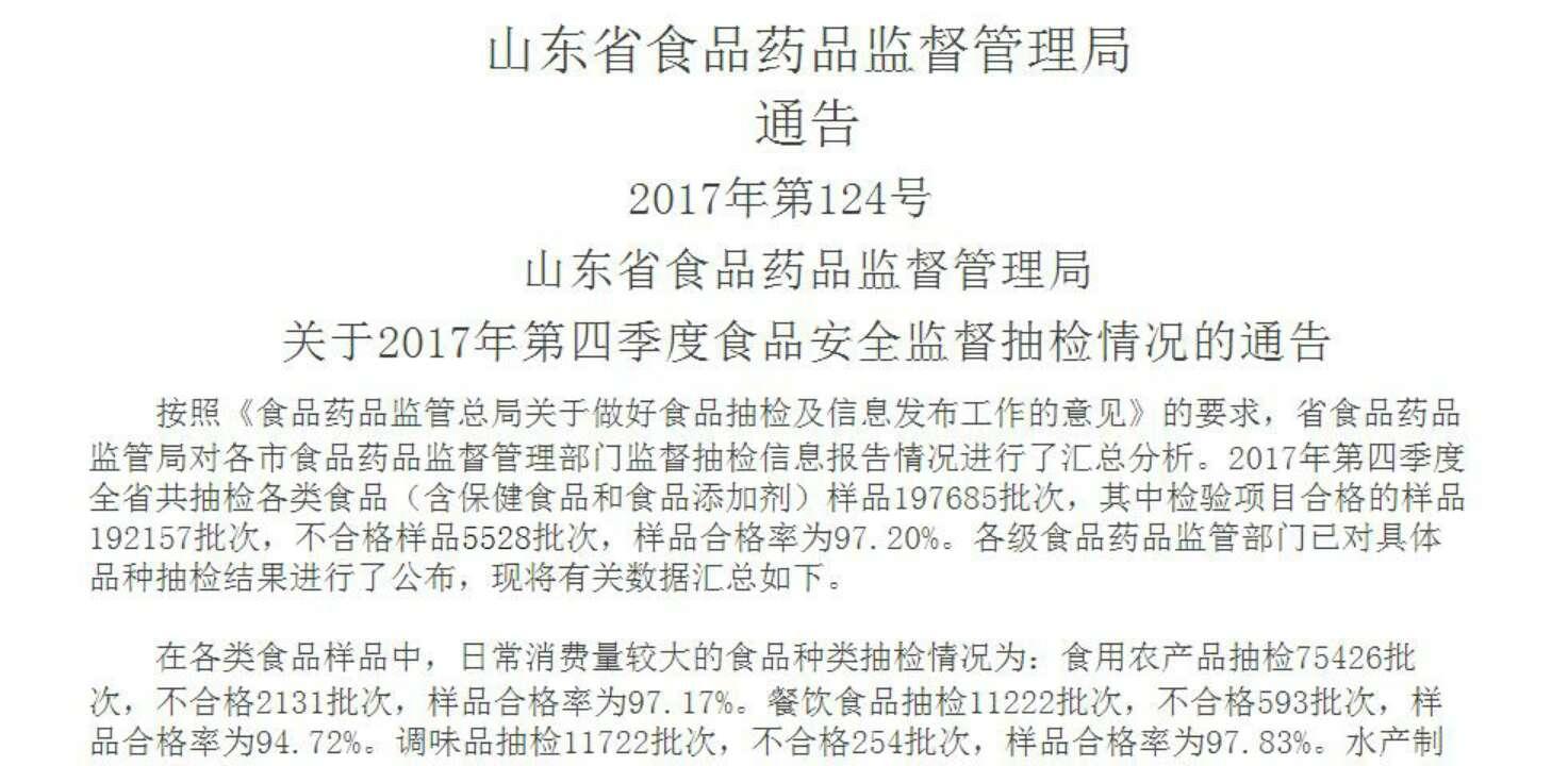 山东2017年第四季度食品抽检:八大食品合格率97.20%