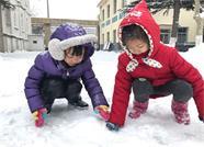"""威海惊现""""雷打雪"""" 然而没有什么能影响雪后""""撒欢"""""""