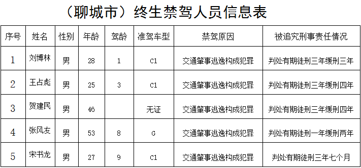 聊城交警公布1月份终生禁驾名单 5人均因肇事逃逸构成犯罪