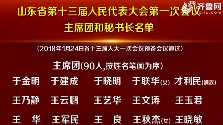 省十三届人大一次会议主席团和秘书长名单