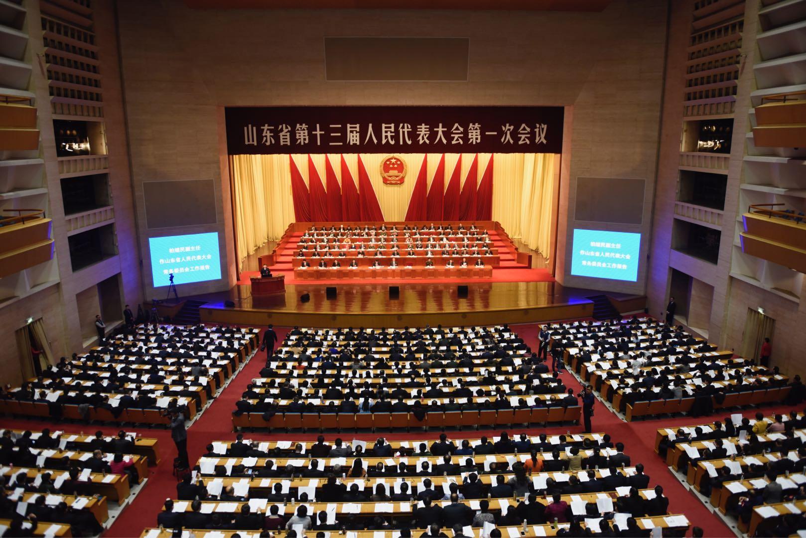 山东省十三届人大一次会议举行第二次全体会议