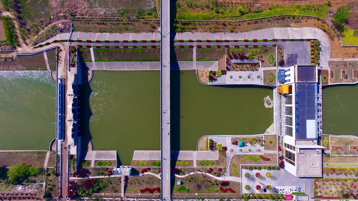 飞吧山东丨航拍山东境内第一级泵站:南水北调台儿庄泵站