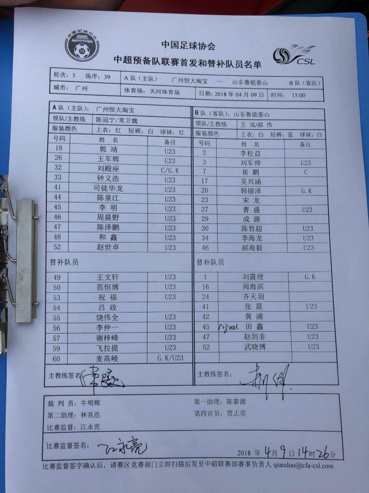 鲁能预备队2:0恒大预备队 田鑫梅开二度