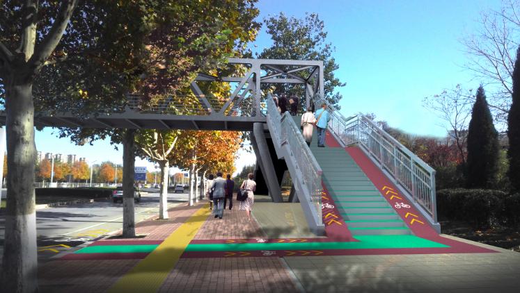 增设自行车道 垂直电梯……济南7座人行天桥改造后长这样