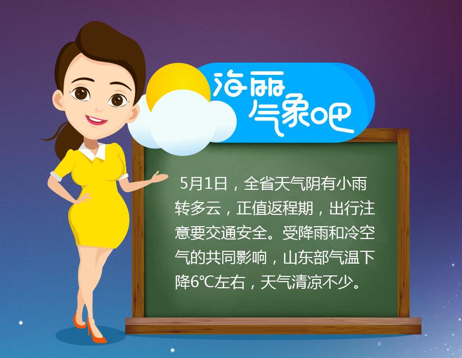 海丽气象吧|五一假期山东最高温30℃适宜出行,最后一天有小雨
