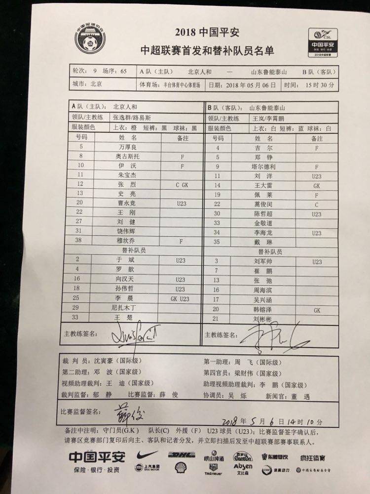 鲁能客战北京人和首发名单公布:塔尔德利和佩莱重回首发