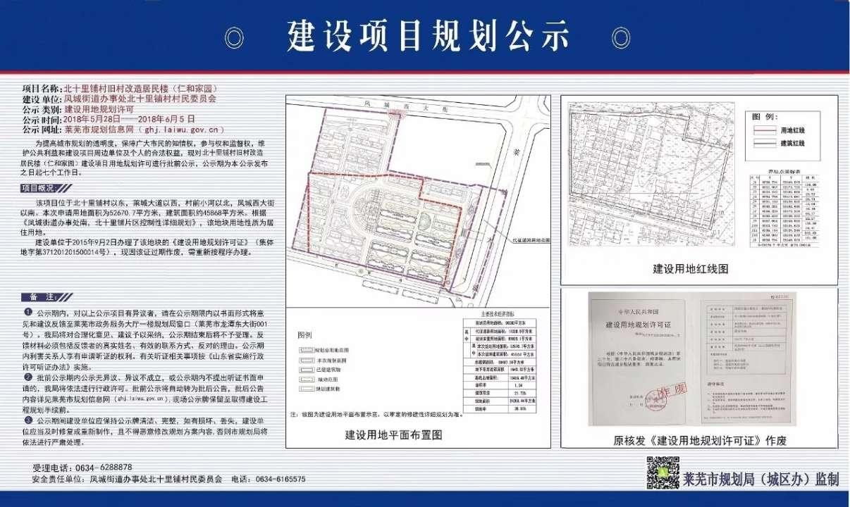 莱芜旧村改造新进展:仁和家园规划今日正式出炉!