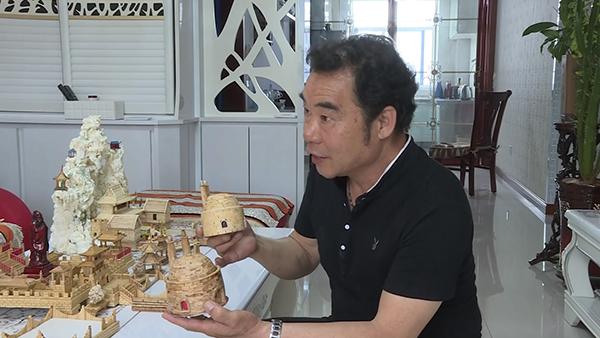 用作品记忆生活 博山市民用筷子和牙签建起颜文姜祠