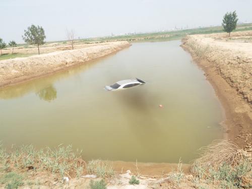 """沾化一""""马大哈""""司机驾车看手机 连人带车进河里"""