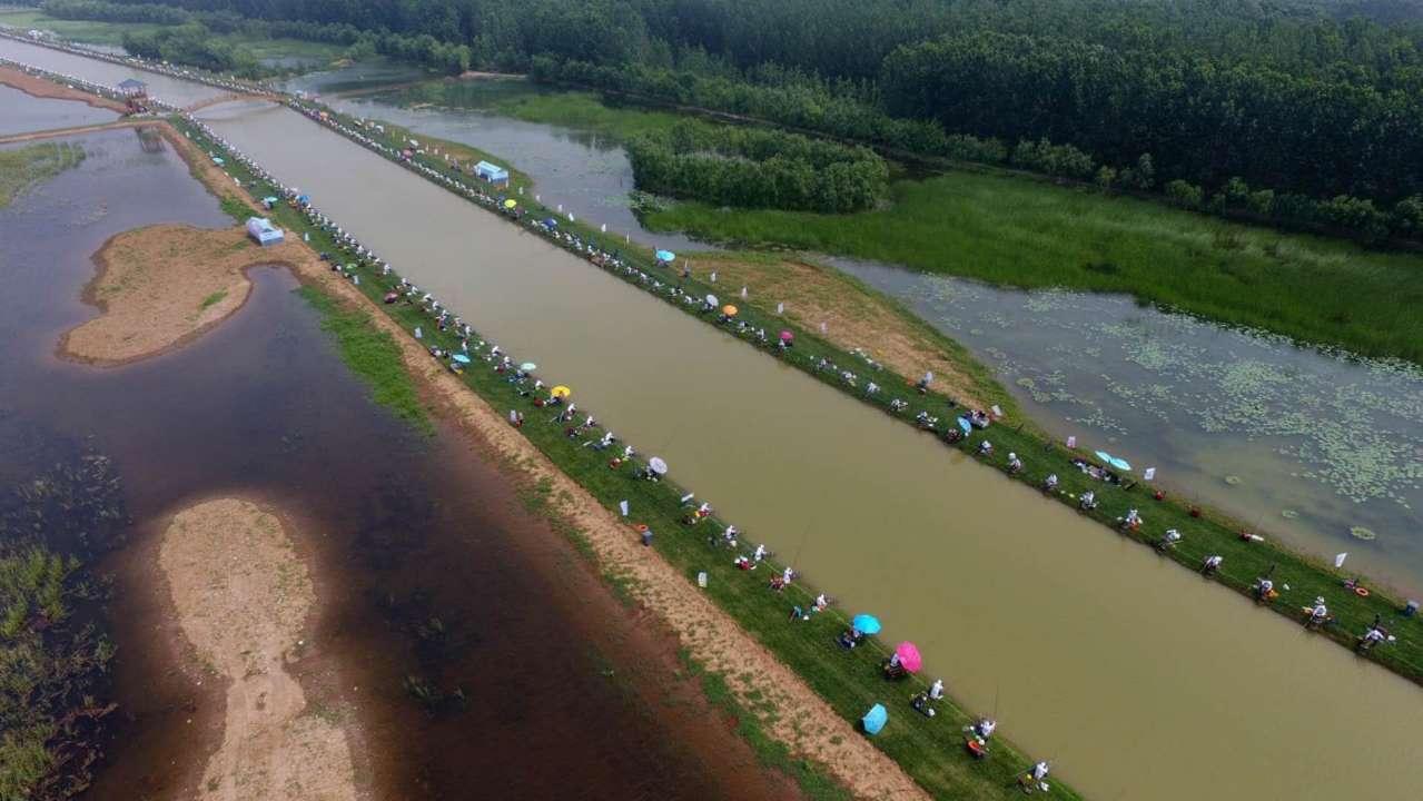 600余位钓手台儿庄湿地钓鱼基地飙钓技 冠军能拿10万元
