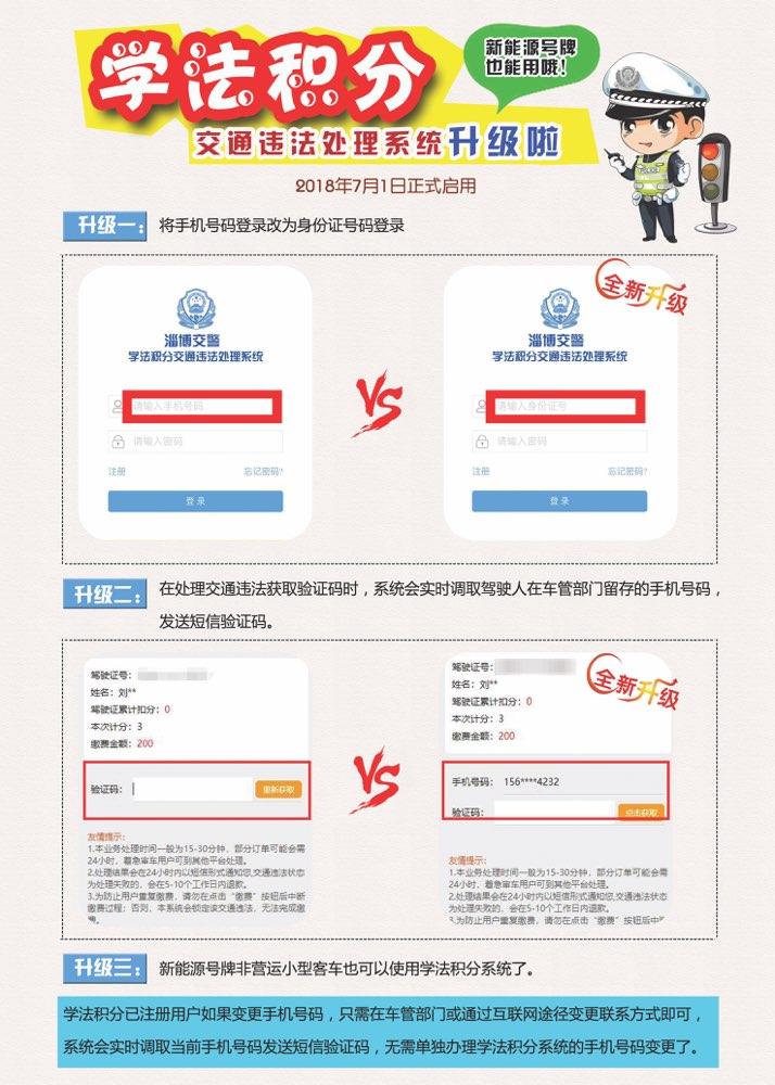 7月1日起淄博学法积分系统升级 驾驶人可用身份证号码登陆