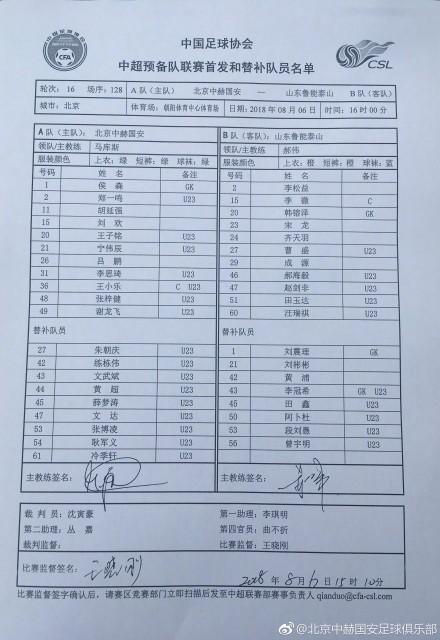 又是平局!李松益田鑫破门,鲁能预备队2-2国安