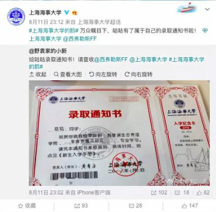 """上海这所高校录取通知书发给一只""""鹅""""?网友:好英俊!"""