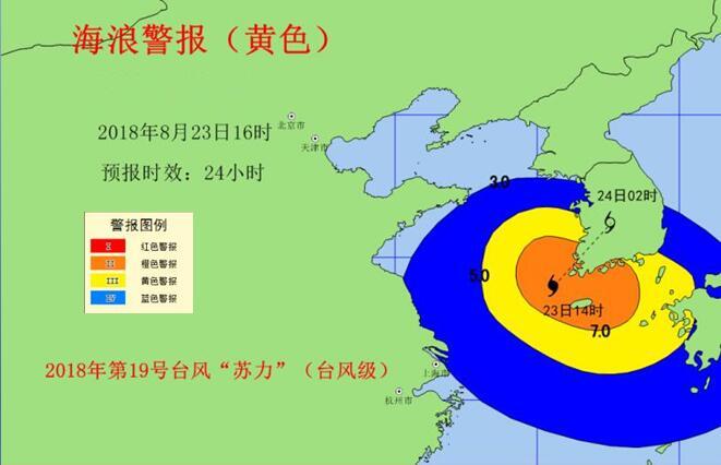"""台风""""苏力""""今晚继续影响山东海域 黄海中部将出现8米狂浪"""