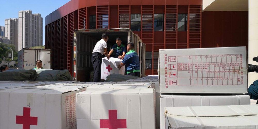 山东省红十字会600床棉被600个家庭包今达寿光