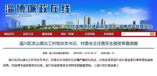 淄川洪山镇北工村一村书记接受审查调查