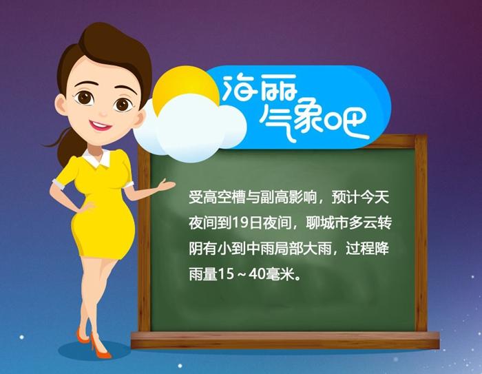 海丽气象吧 聊城将迎明显降水局部大雨 24日最低温10℃