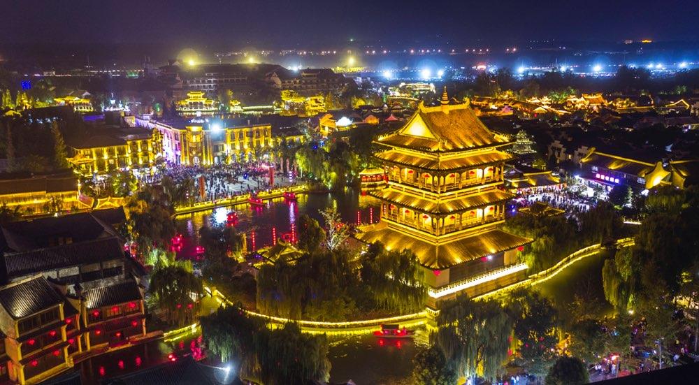 流光溢彩醉游人!台儿庄古城美景如画吸引众多游客