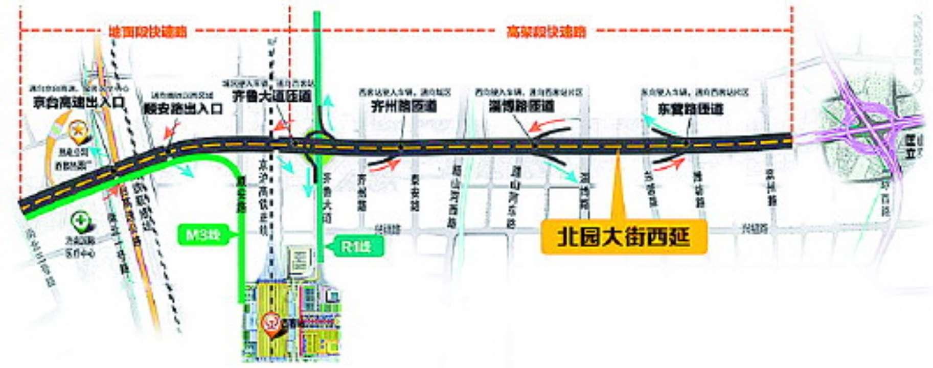 济南北园高架路西延主体接近完成 高架段元旦能通车