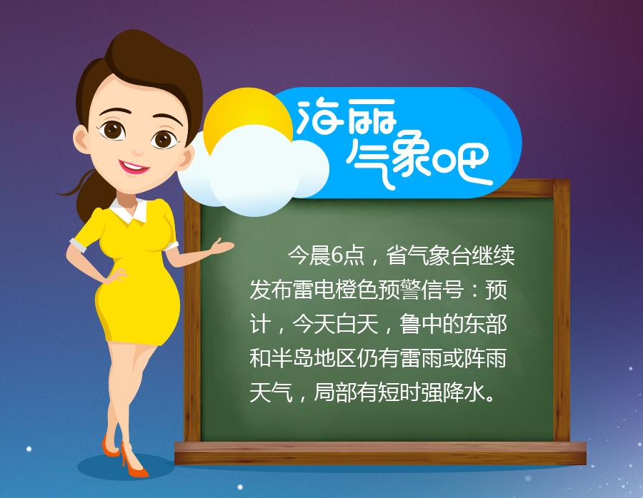 海丽气象吧丨山东省气象台继续发布雷电橙色预警