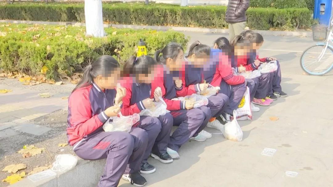 大冷天,邹平这个学校学生缘何校外小树林蹲着吃午饭!