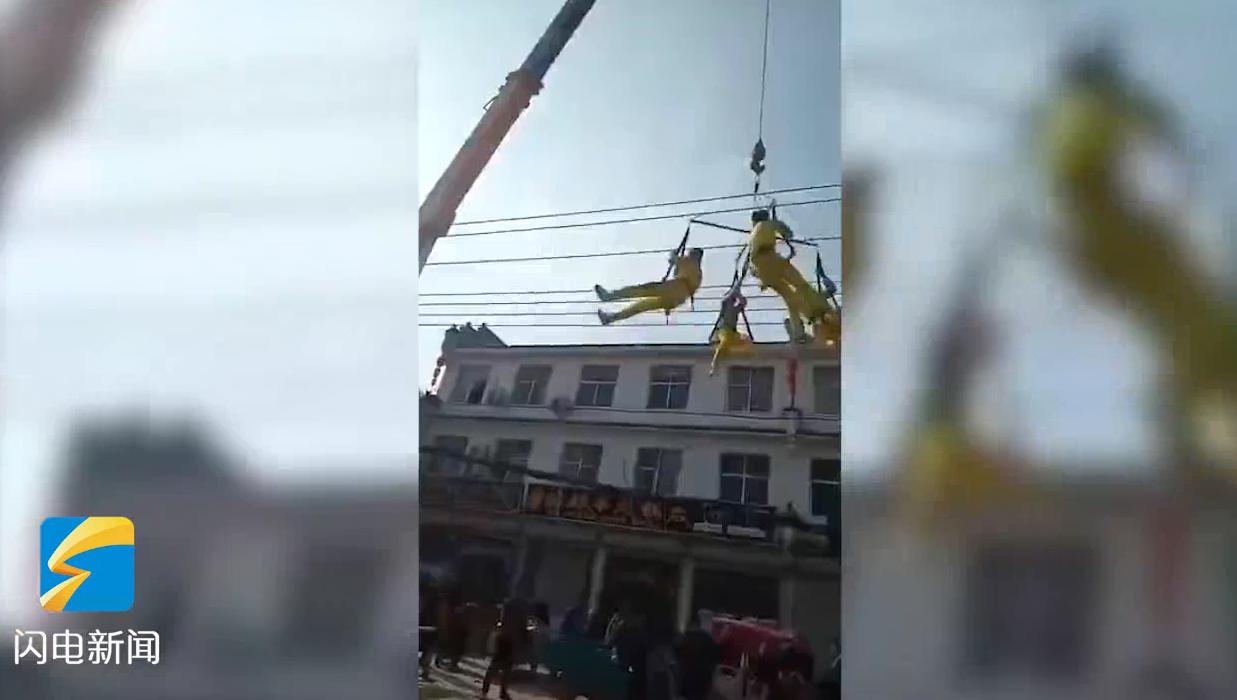 14秒丨河南商丘杂技演员表演时坠落 演出设备竟挂吊车吊钩上