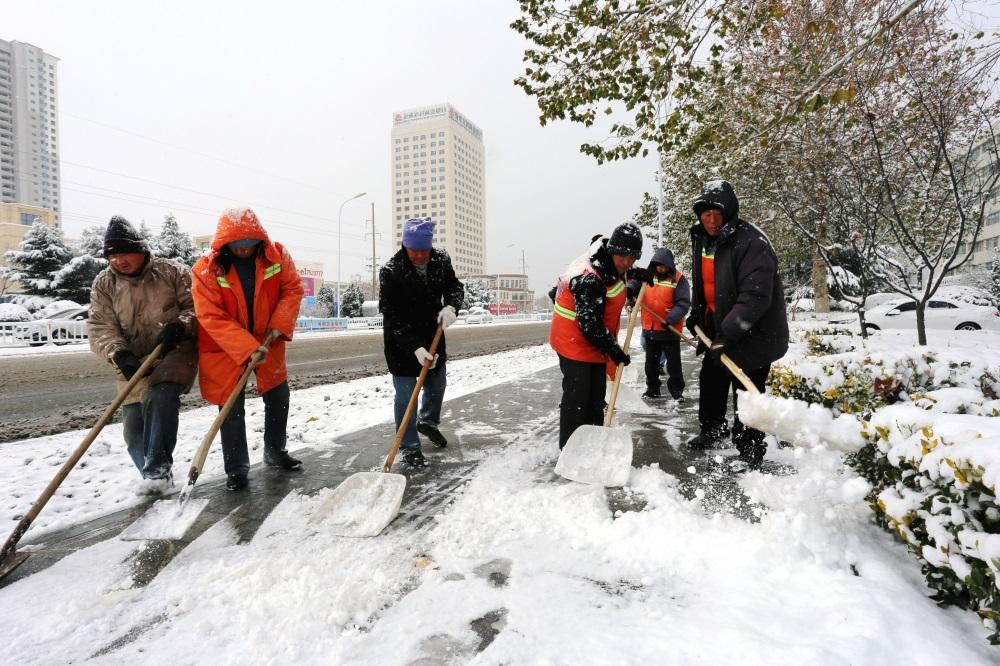 组图:雪中荣成裹银装 清雪除雪全城齐上阵