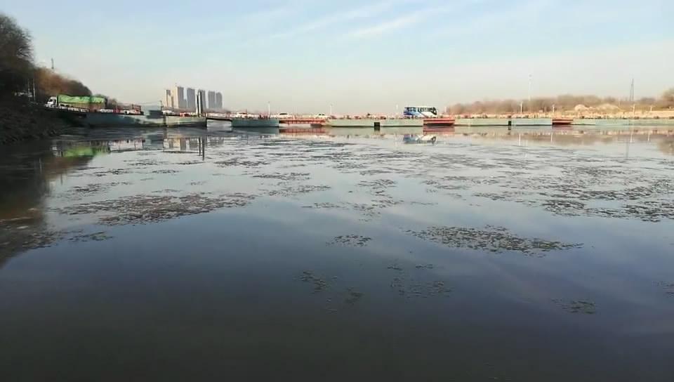 65秒丨实拍黄河济南段出现淌凌 冰凌冲撞浮桥发出咔咔声响