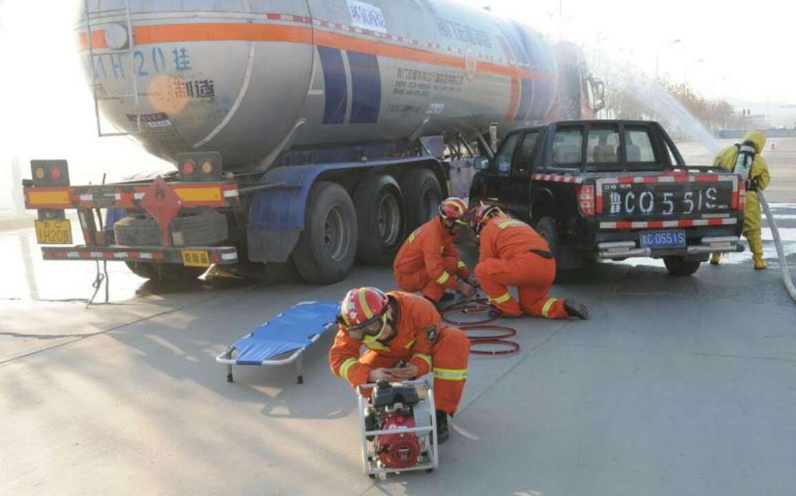 淄博高新区举行2019年危化品运输车辆泄漏事故应急救援演练
