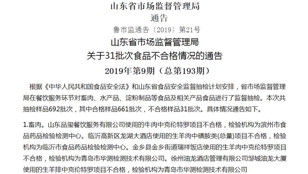 山东31批次食品不合格 品玺餐饮、孙武温泉大酒店上黑榜