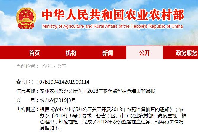 农业农村部通报2018年农药监督抽查结果 山东部分企业违规