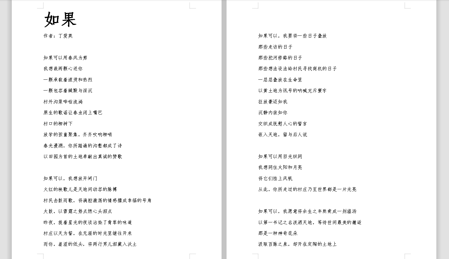 写下歌与诗 赠给辛劳的第一书记