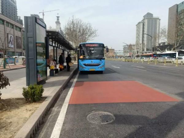 菏泽中华路公交车专用车道 预计在牡丹花会之前施工完毕