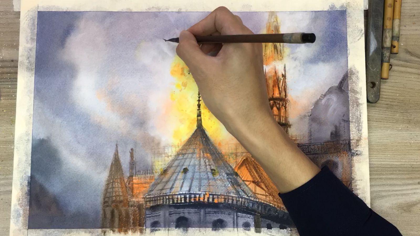 58秒丨巴黎圣母院火后伤痕累累 网友用水彩画留住她的美