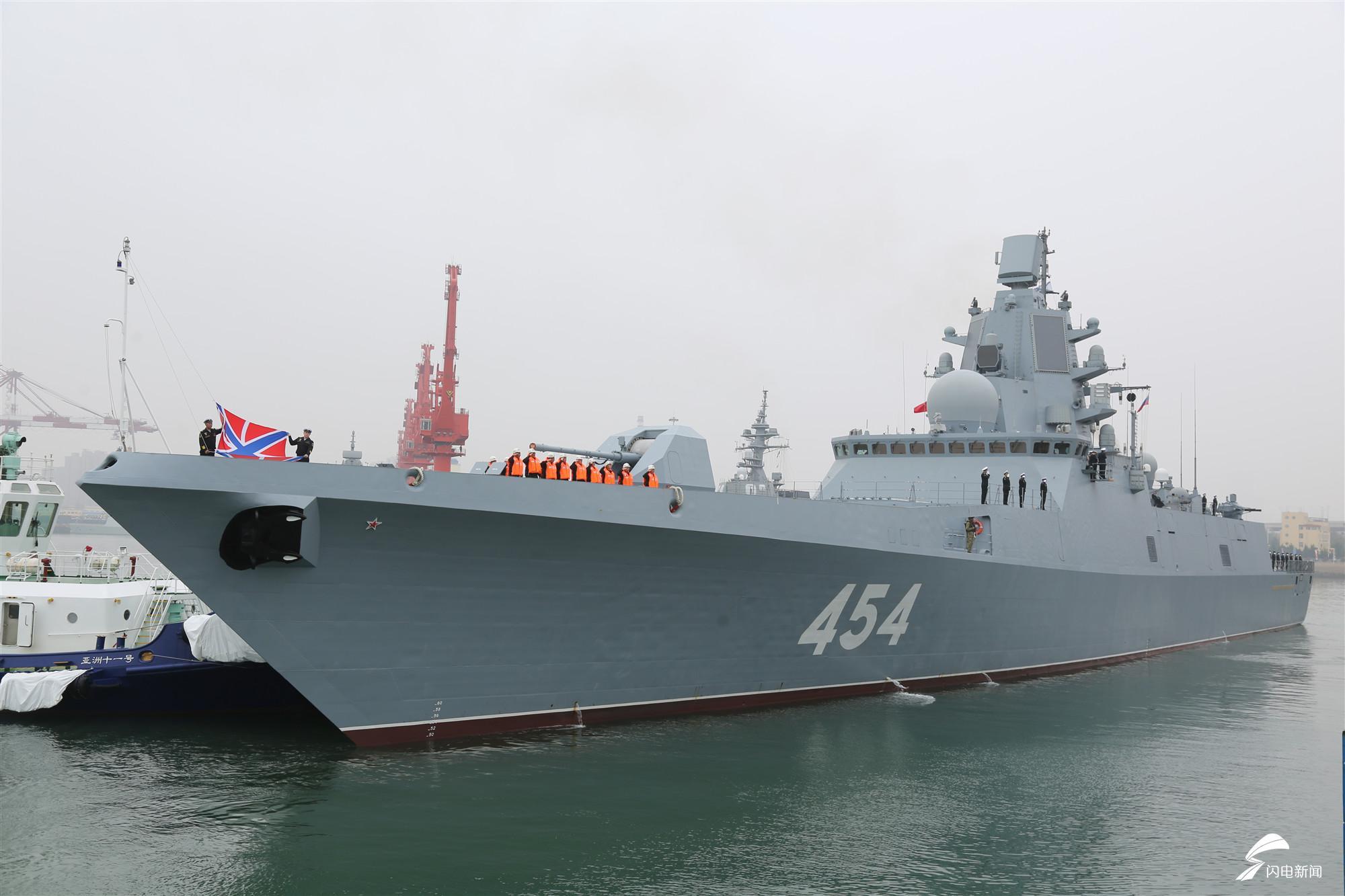 """T1俄罗斯海军北方舰队22350型首舰454号""""戈尔什科夫海军元帅""""护卫舰靠港.JPG"""