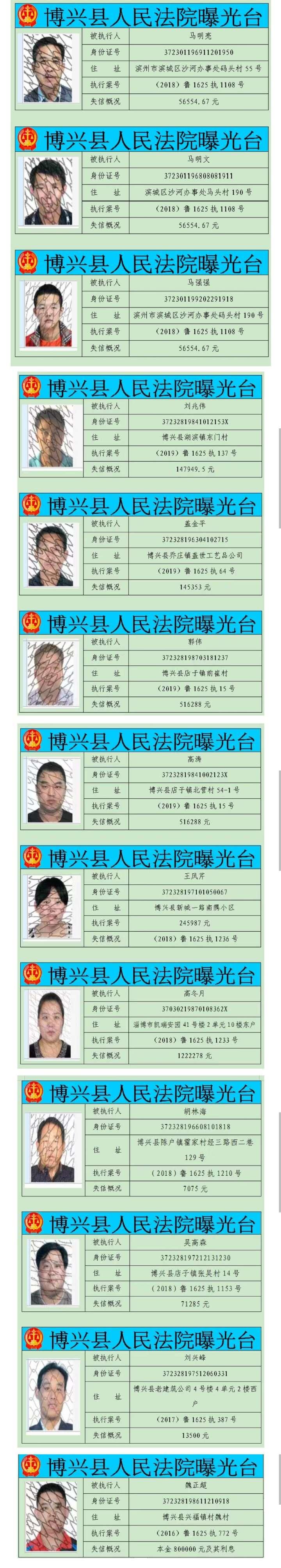 博兴县法院实名曝光13位失信被执行人